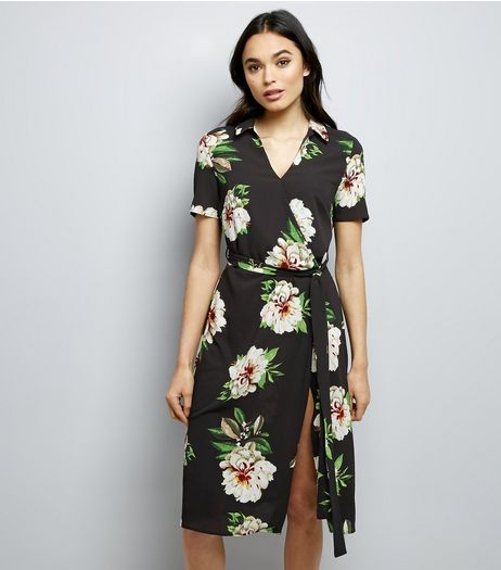Cameo Rose Black Floral Wrap Front Midi Dress | New Look
