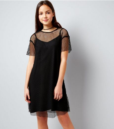 Teens Black Wide Mesh T-Shirt Dress | New Look