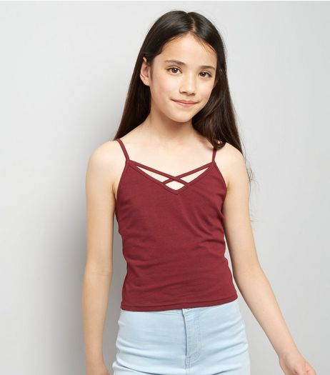 Teens Burgundy Lattice Front Cami | New Look