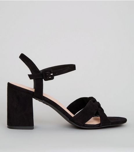 Black Comfort Suedette Cross Strap Block Heels | New Look