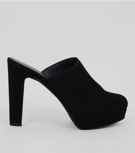 Black Suedette Platform Heels | New Look