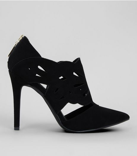 Black Suedette Lazercut Shoe Boot | New Look