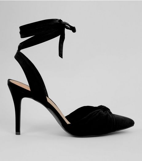 Black Ankle Tie Pointed Heels | New Look