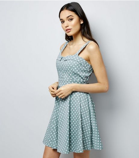 Apricot Mint Green Polka Dot Print Vintage Tea Dress | New Look