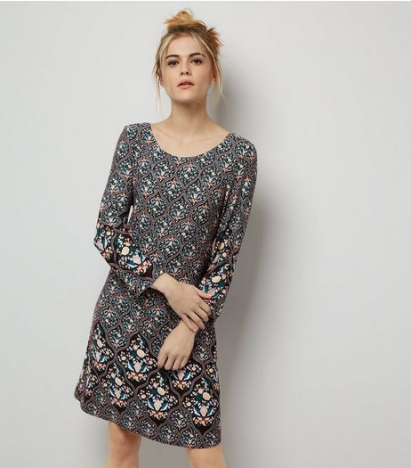 Apricot Black Abstract Print Swing Dress | New Look