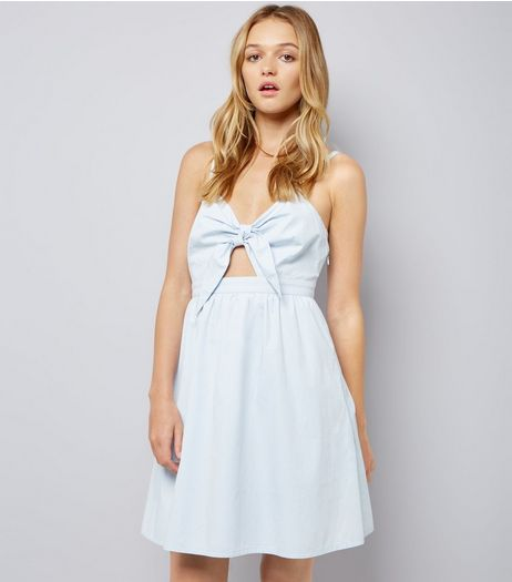 Pale Blue Bow Front Sundress | New Look