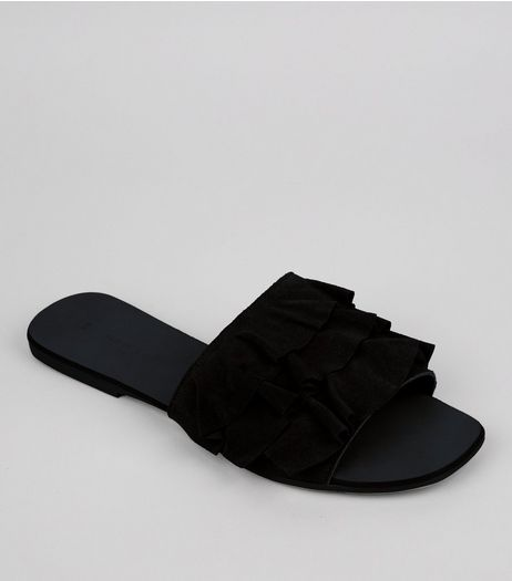 Black Suede Frill Strap Mules | New Look