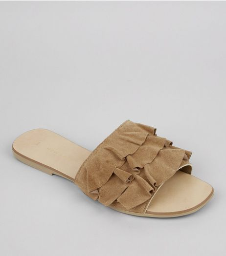 Brown Suede Frill Strap Mules | New Look
