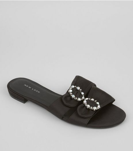 Black Satin Diamante Circle Mules | New Look