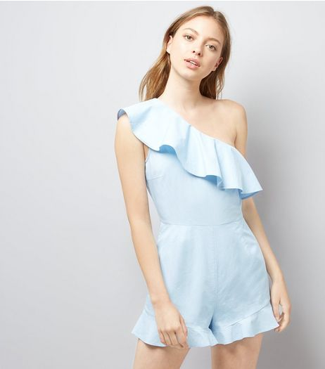 Pale Blue Frill Trim Off the Shoulder Playsuit  | New Look