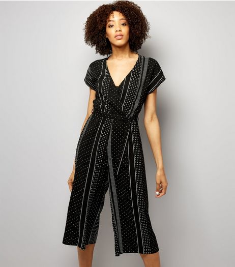 Black Spot Print Wrap Front Culotte Jumpsuit  | New Look