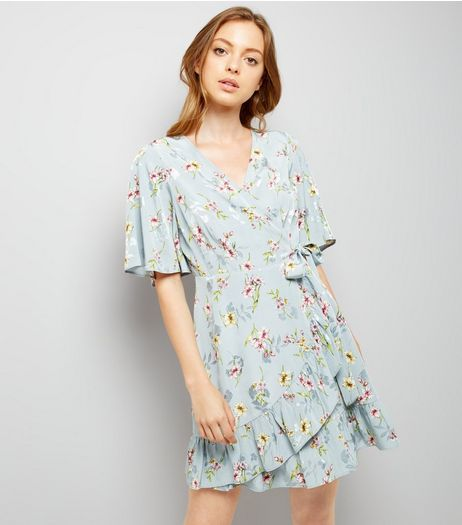 Blue Floral Print Wrap Front Dress | New Look