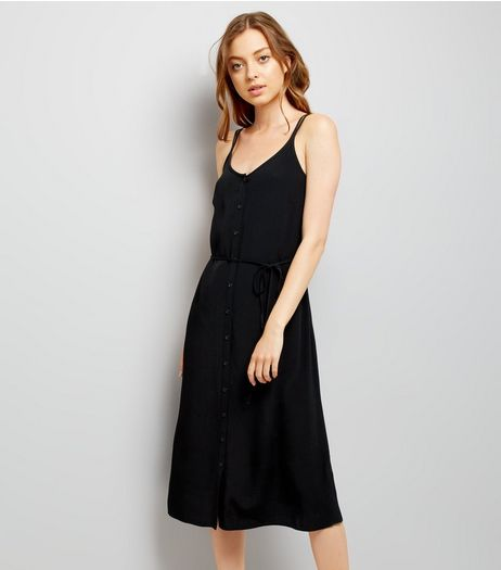 Black Button Front Midi Dress | New Look