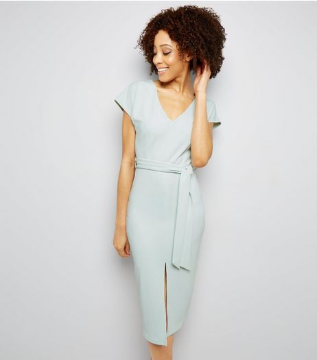 Mint Green Scuba Tie Waist Dress  | New Look