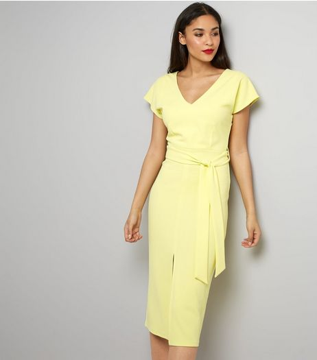 Yellow Scuba Tie Waist Dress | New Look