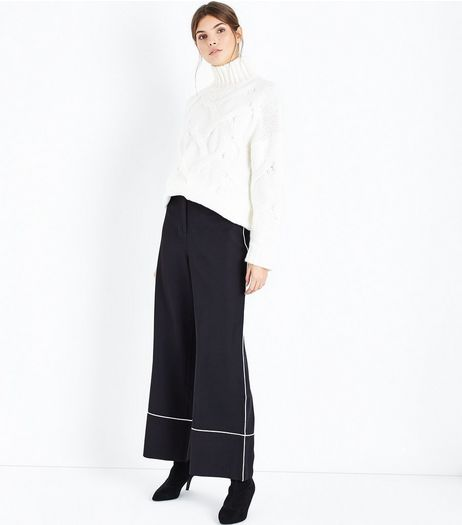 Black Piped Trim Wide Leg Trousers | New Look