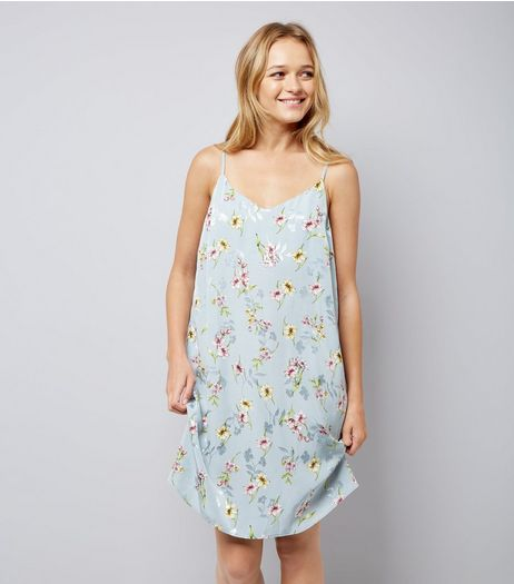 Pale Blue Floral Jaquard Slip Dress | New Look