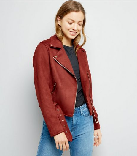 Brown Suedette Biker Jacket | New Look