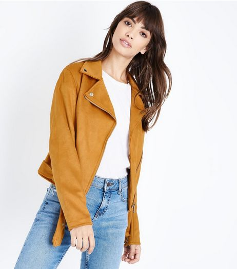 Yellow Suedette Biker Jacket | New Look