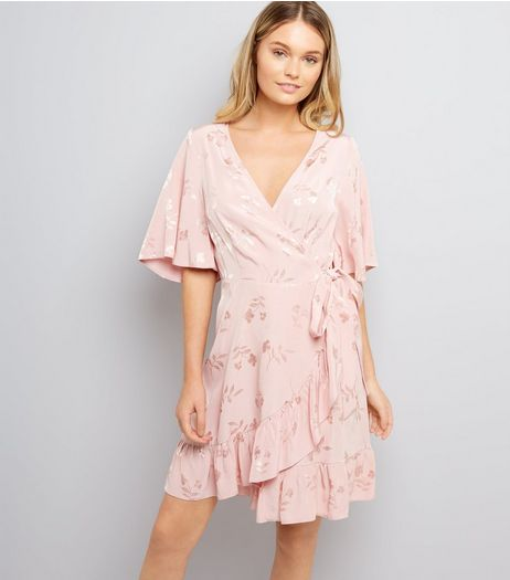 Pink Floral Jacquard Wrap Front Dress | New Look