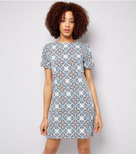 Blue Tile Print Tunic  | New Look