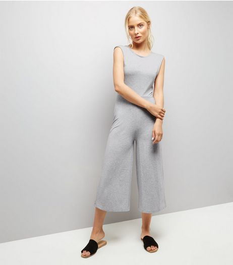 Dark Grey Twist Back Culotte Jumpsuit  | New Look