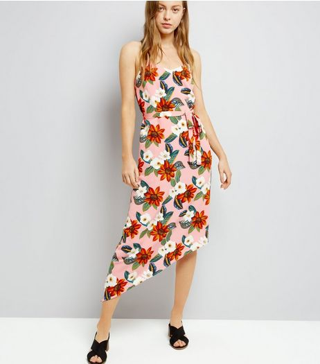 Pink Tropical Print Asymmetric Hem Midi Dress | New Look