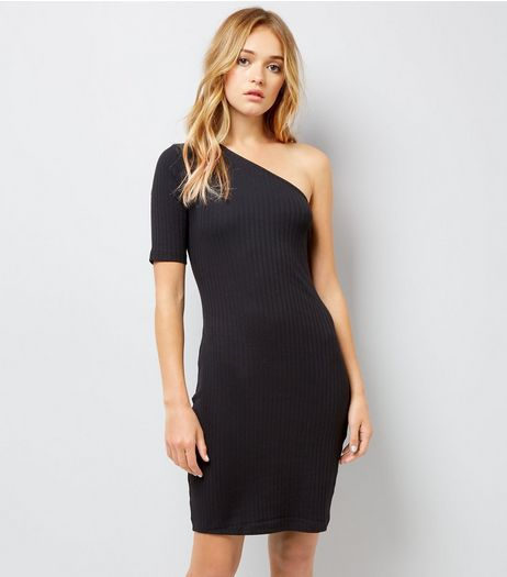 Black Off the Shoulder Ribbed Bodycon Dress | New Look