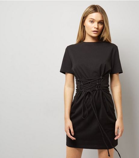 Black Corset T-Shirt Dress | New Look