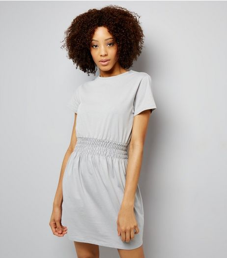 Dark Grey Shirred Waist T-Shirt Dress  | New Look
