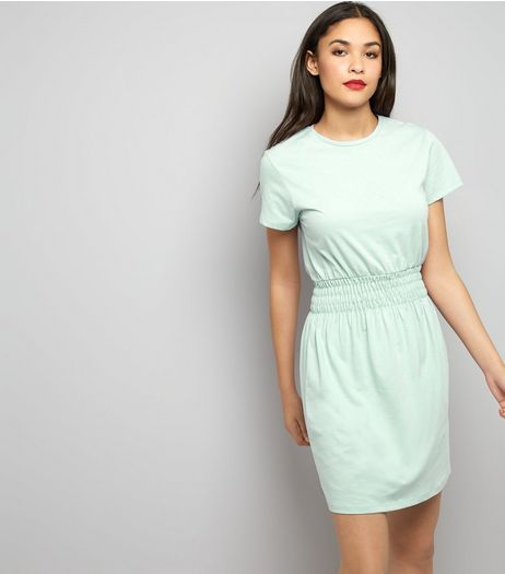 Mint Green Shirred Waist T-Shirt Dress | New Look