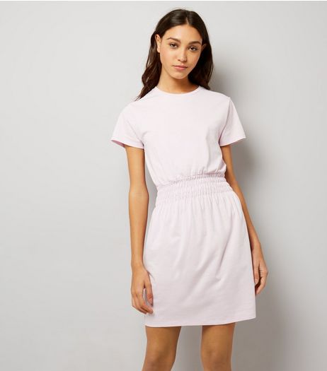 Mid Pink Shirred Waist T-Shirt Dress  | New Look