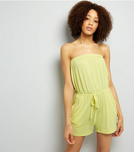 Yellow Jersey Bandeau Playsuit  | New Look