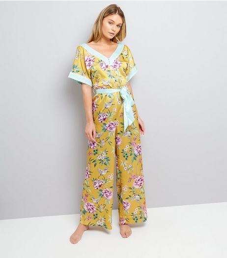 Yellow Satin Floral Lounge Jumpsuit | New Look