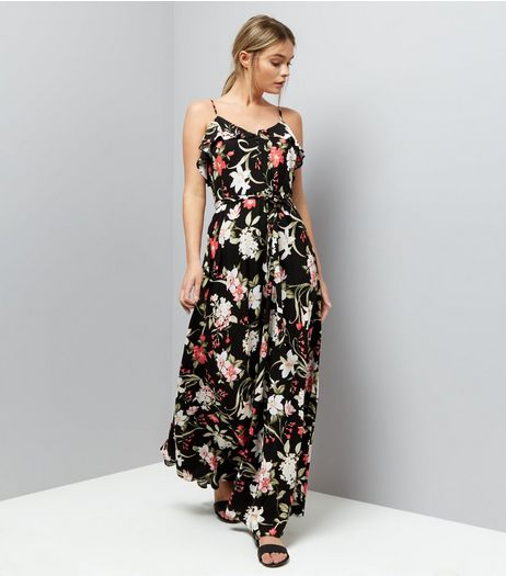 Black Floral Print Frill Trim Maxi Dress | New Look
