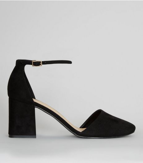 Wide Fit Suedette Pointed Block Heels | New Look