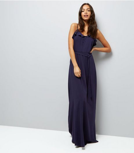 Navy Frill Trim Maxi Dress | New Look