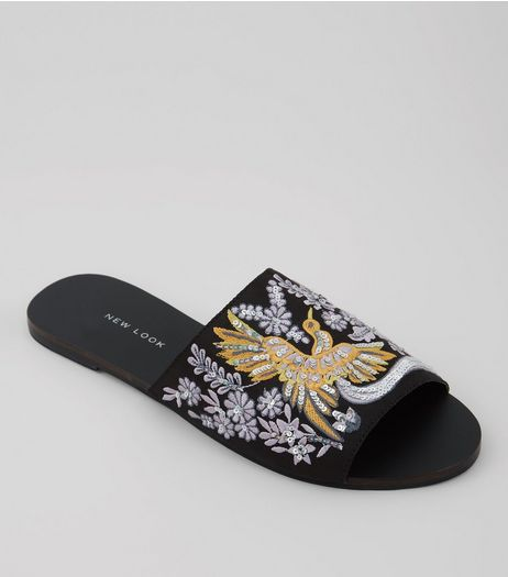 Wide Fit Black Bird Embroidered Mules | New Look