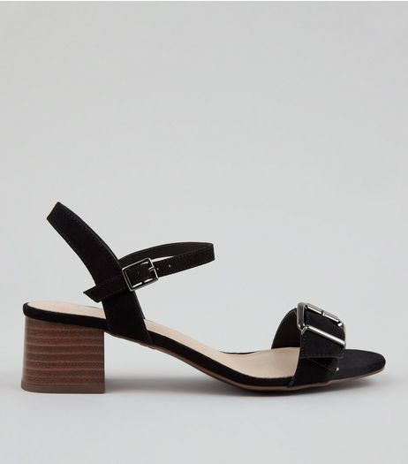 Wide Fit Black Comfort Suedette Buckle Front Heeled Sandals | New Look