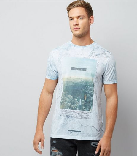 Mint Green Marble Shinjuku City Print T-Shirt | New Look