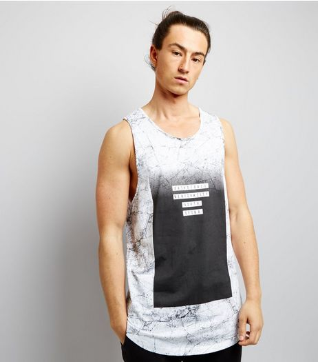 Black Marble Print Basketball Vest | New Look