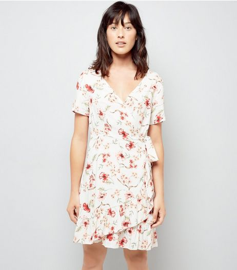 White Chintz Floral Print Frill Wrap Dress | New Look