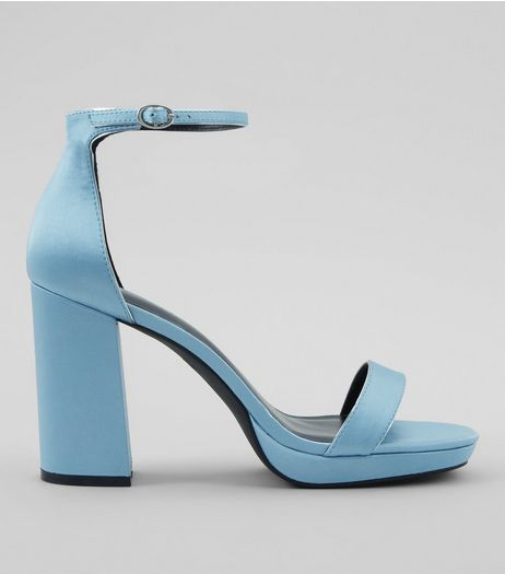 Blue Ankle Strap Block Heels | New Look