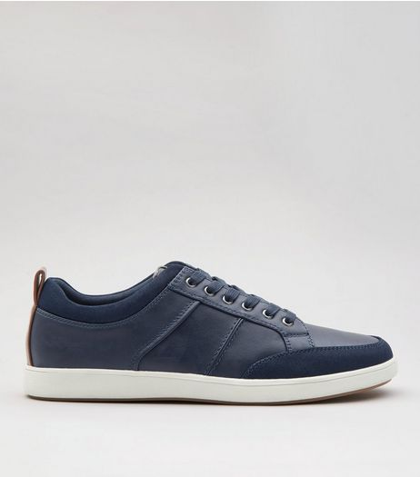 Navy Suedette Toe Lace Up Trainers | New Look