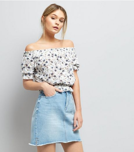 Blue Ditsy Floral Print Shirred Bardot Neck Top  | New Look