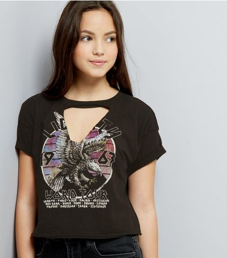Teens Black Choker Neck Eagle Print Tour T-Shirt | New Look