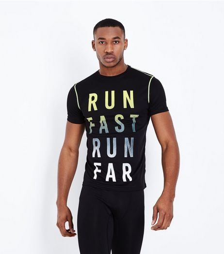 Black Run Fast Run Far Sports T-Shirt | New Look
