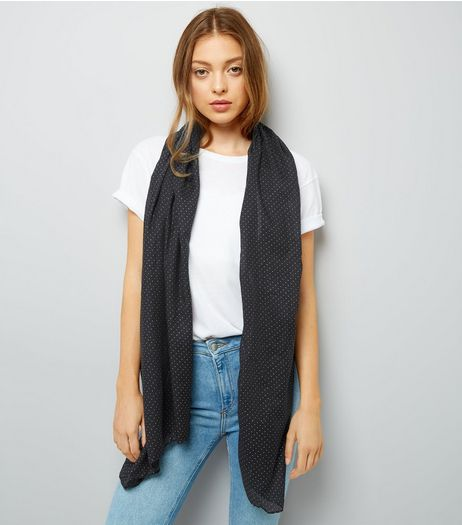 Black Spot Print Longline Scarf | New Look