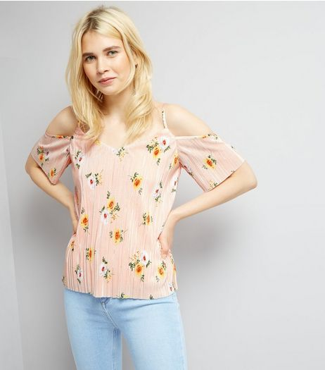 Pink Floral Print Pleated Cold Shoulder Top | New Look