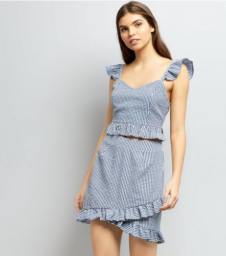 Blue Gingham Check Frill Trim Mini Skirt | New Look